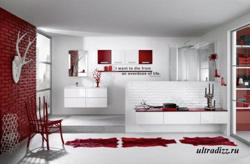 бело-красная ванная