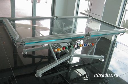 стеклянный стол для пула