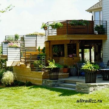многоуровневая терраса с летней кухней