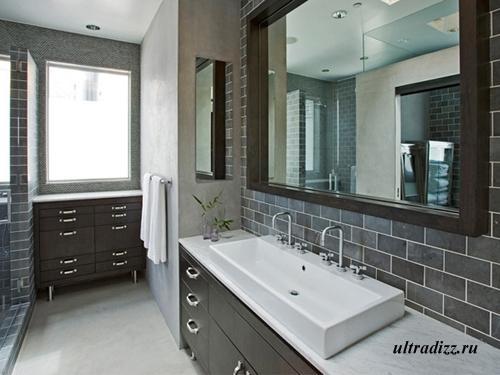 дизайн черно-белой ванны