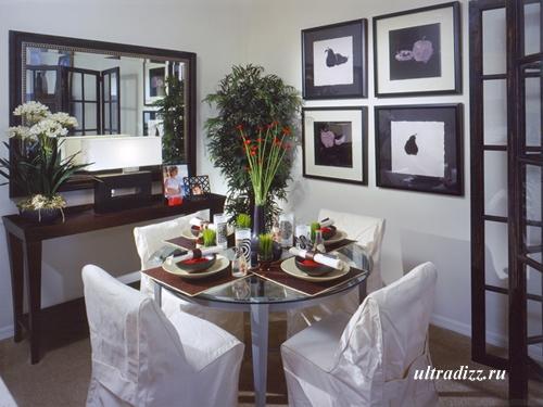 столовая в черно-белом дизайне