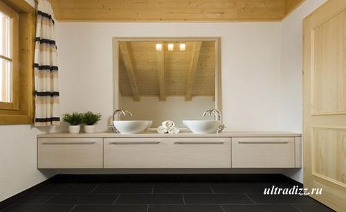 стильная ванная в деревянном доме