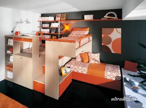 контрастный черно-оранжевый подростковый интерьер