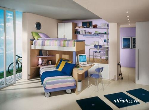 сиренево-бежевая комната подростка