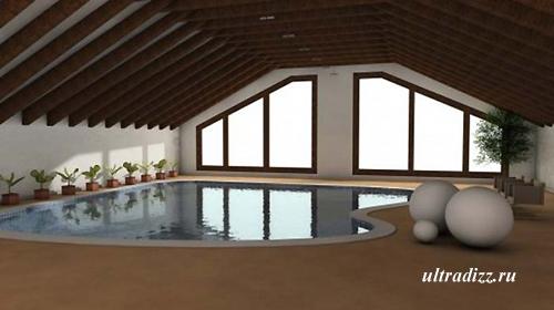 современный встроенный бассейн