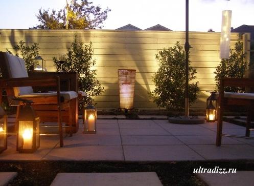 ночная подсветка в загородном доме