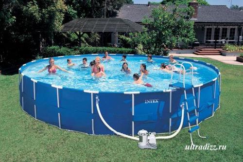 бассейн каркасный на даче