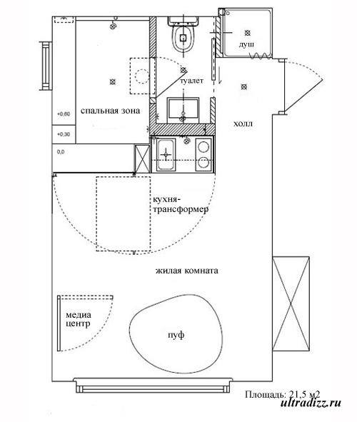 схема маленькой квартиры