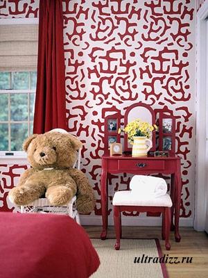 красный цвет в дизайне детской