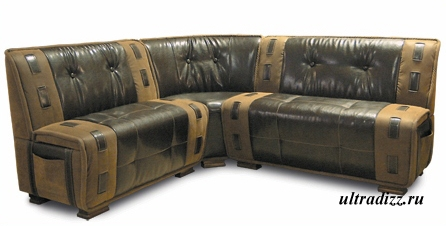 оригинальный кожаный угловой кухонный диван
