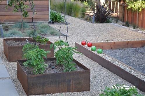 гравий в дизайне частного двора