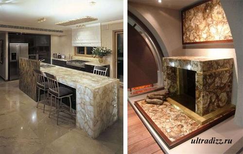 декоративный камень в дизайне мебели