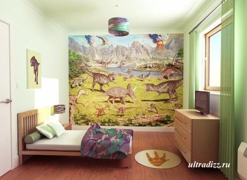 мир динозавров в дизайне детской