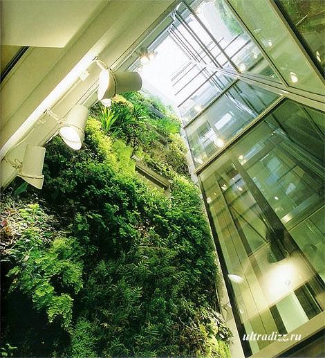 вертикальное озеленение высокого интерьера