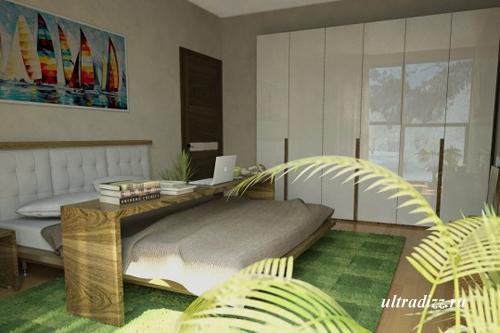 зеленый в дизайне спальни