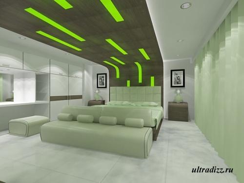 зеленое освещение в спальне