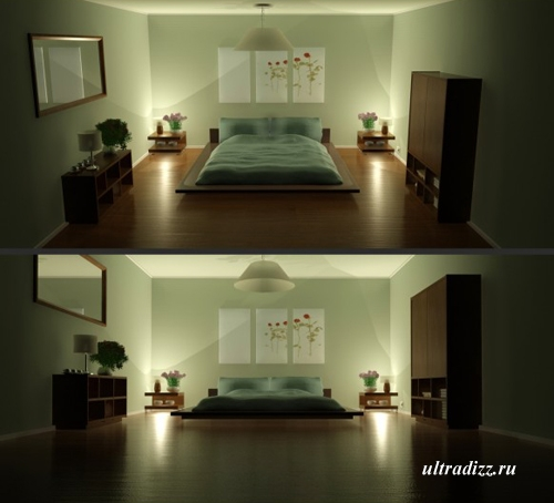 зеленые оттенки в спальне