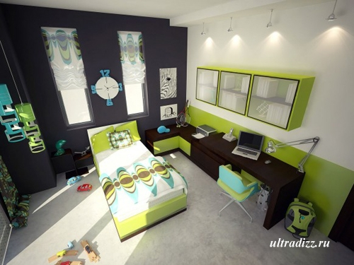 интерьер зеленой спальни