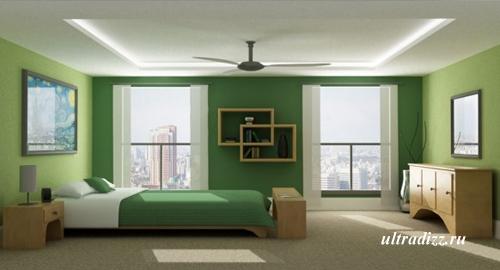 современная зеленая спальня