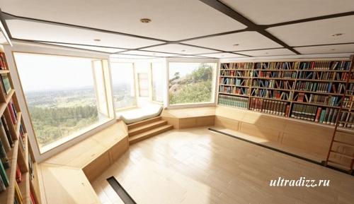 дизайн библиотеки в частном доме