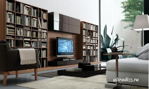библиотека в гостиной 5