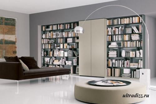 библиотека в гостиной 3