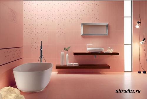 сочетание керамических плиток в ванной
