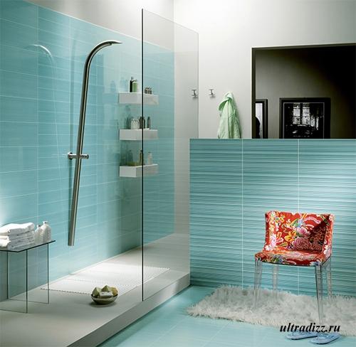 рельефная плитка в дизайне ванной