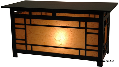 кофейный столик с бумажным фасадом и светильником