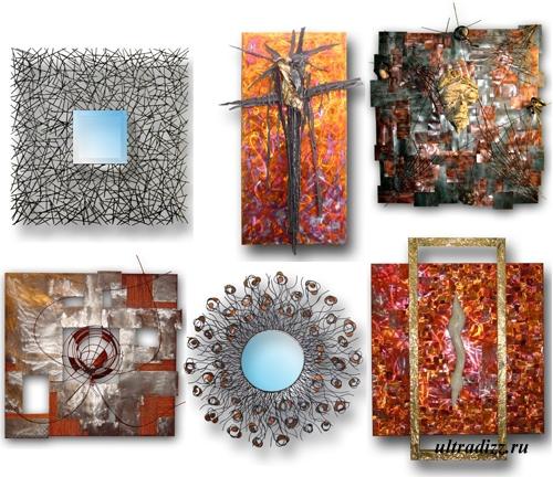металлические картины и зеркальные рамы