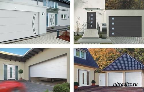 гаражные ворота и входные двери в одном стиле
