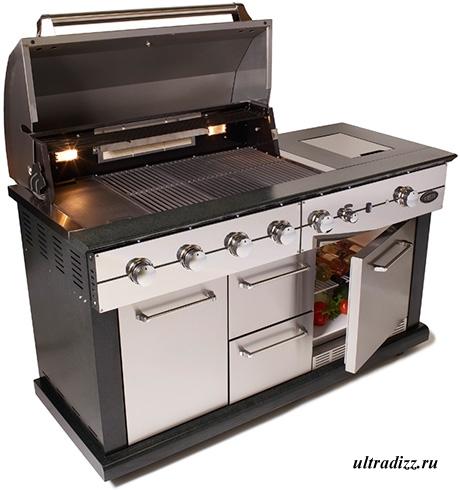 летняя кухня с грилем и холодильником