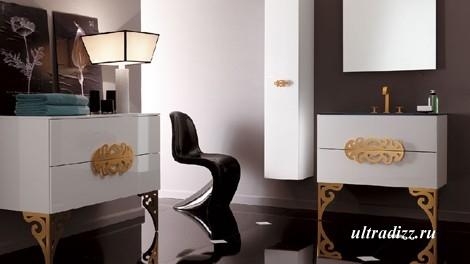 современная ванная с мебелью в стиле барокко