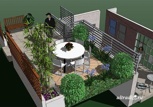 сад на современном балкконе