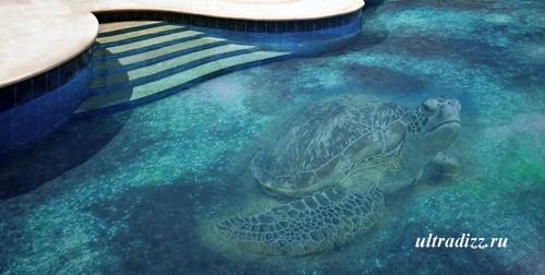 трехмерная мозаика для бассейна