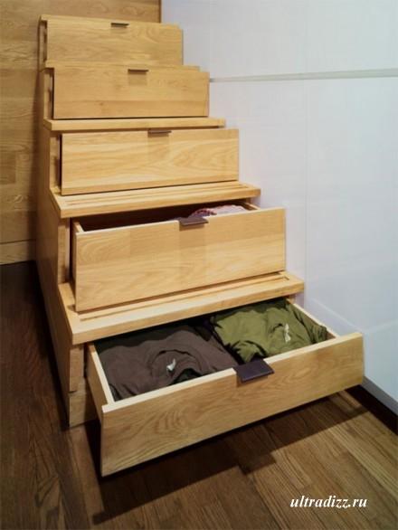 лестница-шкаф в маленькой квартире