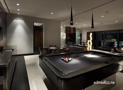 бильярдная зона в современной гостиной