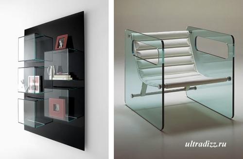 стеклянные полки и кресло