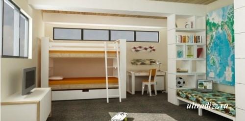 белая мебель в спальне мальчиков