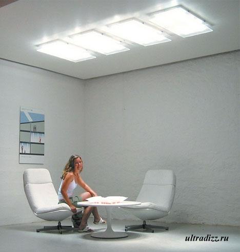 современное освещение интерьеров без окон