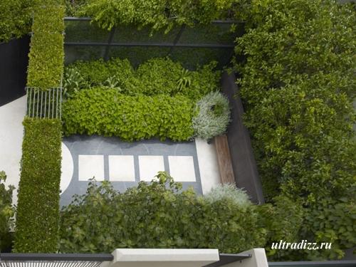 вид сверху на современный сад