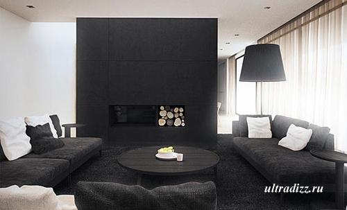 мягкая мебель в черно-белом интерьере