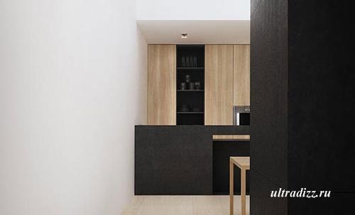 черно-белый интерьер со светлой мебелью