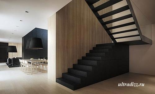 интерьер квартиры студии в черно-белых тонах