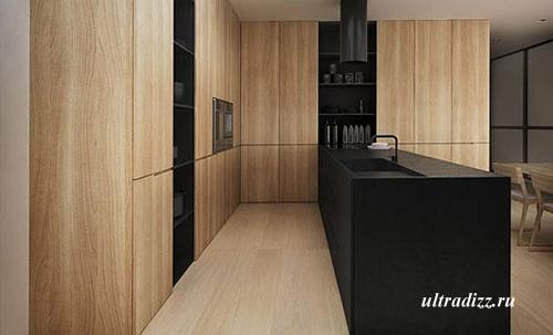кухня с черным рабочим столом