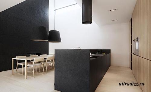 светлая мебель в черно-белой кухне