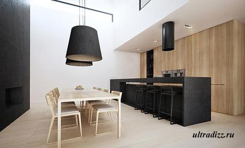 черно-белый интерьер кухни-столовой