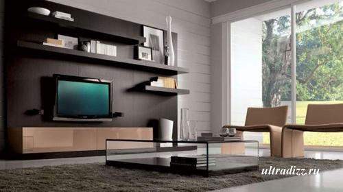 современный интерьер коричневой гостиной