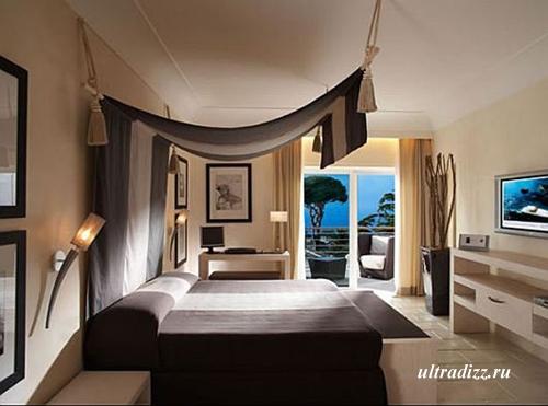 оригинальный коричневый интерьер спальни