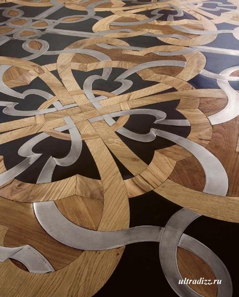 мозаичный пол из дерева, металла и камня